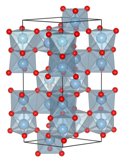 The corundum structure of ruby (and other sapphires). Blue spheres: aluminium; red spheres: oxygen. (ICSD-10425; drawn using VESTA)