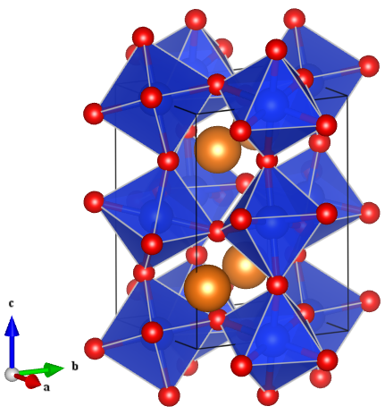 Figure 1: Crystal structure of the distorted perovskite MgSiO3. Image generated in VESTA.