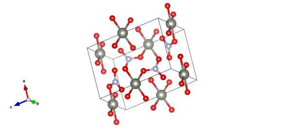 Zinc atoms are grey, nitrogen light blue and the red atoms represent oxygen (some of which will be the centre of water moleucles.)