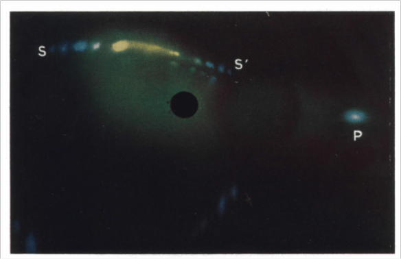 Figure 5. Light diffraction image of an opal obtained using a Mercury – Cadmium spectral lamp. From: Sanders (1968) Acta. Cryst. A 24 (427 – 434)