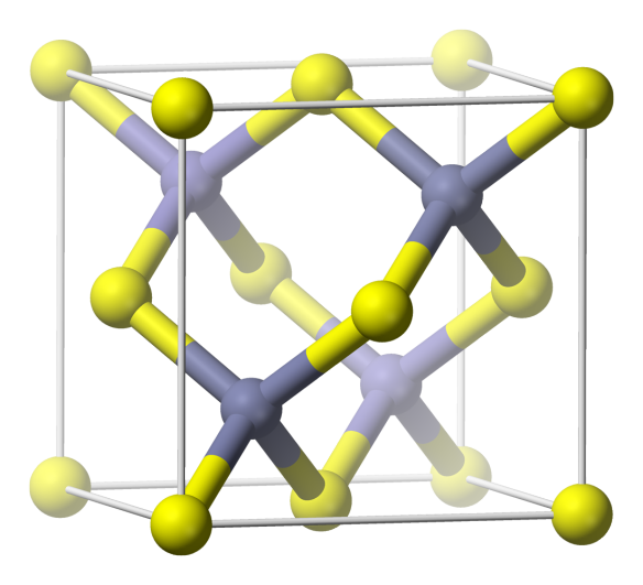 The cubic crystal structure of zincblende or sphalerite