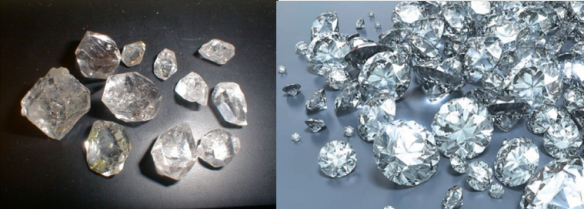 Images of both uncut (l) and cut (r) diamonds