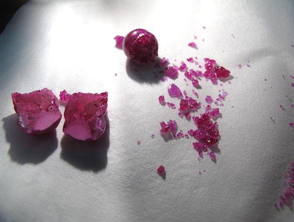 Here's one I prepared earlier… Synthetic ruby (1% Cr) grown by the floating-zone method