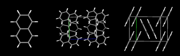 Three views of the Naphthalene molecule. From left to right are the molecule itself, then two direction in the high-pressure crystal structure. Image generated by the Mercury crystal structure visualisation software http://www.ccdc.cam.ac.uk/Solutions/CSDSystem/Pages/Mercury.aspx