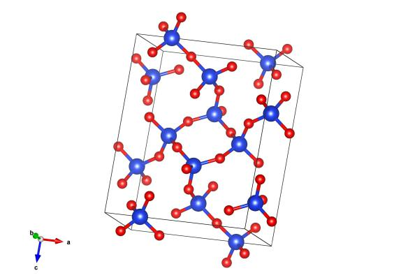 Blue atoms are silicon and red are oxygen. Image generated by the VESTA (Visualisation for Electronic and STructual analysis) software http://jp-minerals.org/vesta/en/