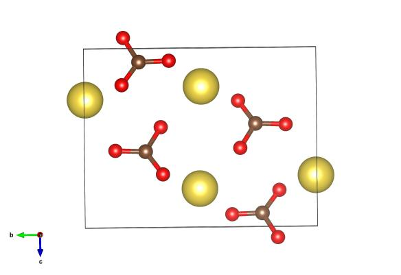 Yellow atoms are sodium, red are oxygen and the brown are carbon atoms. As this structure was found by x-ray diffraction no-one is quite sure where the hydrogen atoms are. Image generated by the VESTA (Visualisation for Electronic and STructural analysis) software http://jp-minerals.org/vesta/en/