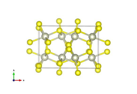The crystal structure of Bowieite, the rhodium atoms are grey and sulfur atoms are yellow. Image generated by the VESTA (Visualisation for Electronic and STructual Analysis) software http://jp-minerals.org/vesta/en/