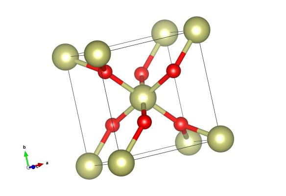 Iridium Oxide, a rutile-type structure. Here the yellow atoms are Iridium and the red oxygen. Image generated by the VESTA (Visualisation for Electronic and STructual Analysis) software http://jp-minerals.org/vesta/en/