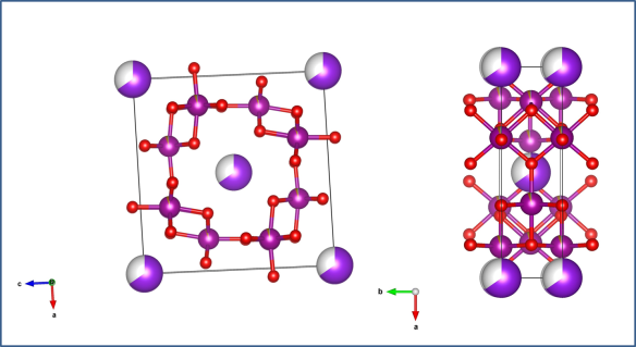 Two views of the cryptomelane structure, showing how the manganese oxide (maroon and red atoms) make a channel for other elements (in this case the larger purple potassium) to sit in. Image generated by the VESTA (Visualisation for Electronic and STructual Analysis) software http://jp-minerals.org/vesta/en/