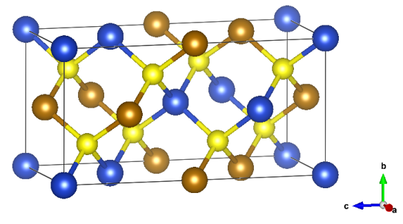 (structure made with Vesta) Colors – Blue: Cu, Brown: Fe, Yellow: S