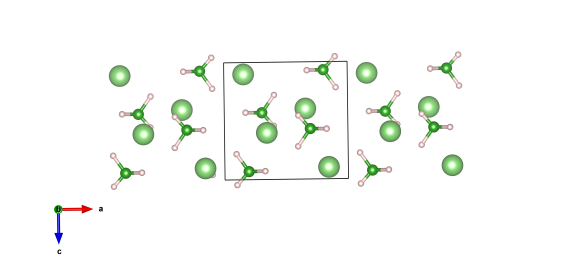 Crystal structure of lithium boro-hydride, the light green atoms are lithium, dark green boron and pink are hydrogen. Image generated by the VESTA (Visualisation for Electronic and STructual analysis) software http://jp-minerals.org/vesta/en/