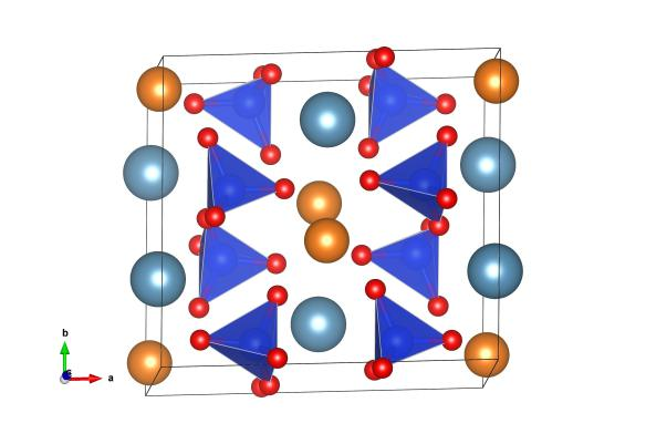The crystal structure of diopside, as determined by Warren and Bragg. The light blue atoms are calcium, the orange atoms are magnesium and the blue and red tetrahedra are the silica (SIO4) units. Image generated by the VESTA (Visualisation for Electronic and STructural Analysis) software http://jp-minerals.org/vesta/en/