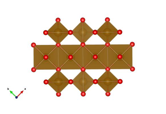 The structure of magnetite, the gold atoms (and shapes) are the iron and the red atoms are the oxygen. Image generated by the VESTA (Visualisation for Electronic and STructural analysis) software http://jp-minerals.org/vesta/en/