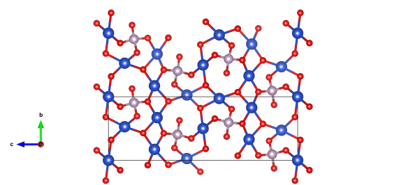 The structure of psuedomalachite, the blue atoms are copper, red oxygen. In contrast to malachite, there's no carbon in this structure - instead phosphorus (lilac). Image generated by the VESTA (Visualisation for Electronic and STructural analysis) software http://jp-minerals.org/vesta/en/