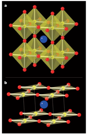 SrFeO2 (below), created by the removal of selected oxygen atoms (in red) from the cubic perovskite SrFeO3 (above). Image source: Tsujimoto et al. [1]