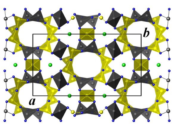Crystal structure of cordierite. Green: magnesium atoms, blue: oxygen atoms, yellow: silicon & aluminium atoms.