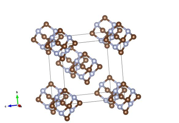 Here the brown atoms are carbon, and the light blue atoms are nitrogen atoms. Image generated by the VESTA (Visualisation for Electronic and STructual Analysis) software http://jp-minerals.org/vesta/en/