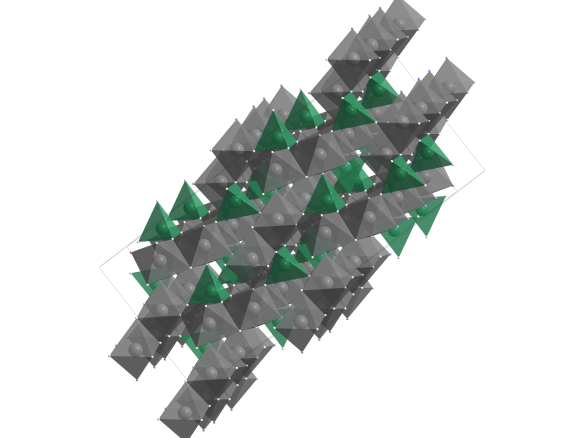 The topaz structure. Image created using diamond crystal structure visualisation package. Al is grey, Si is green, O white and F pink.