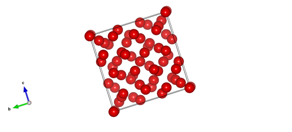 The structure of methane B, the red spheres are the carbon atoms found at the centre of the molecules. This was found with high-pressure x-ray synchrotron diffraction and unfortunately did not reveal the positions of the hydrogen atoms.