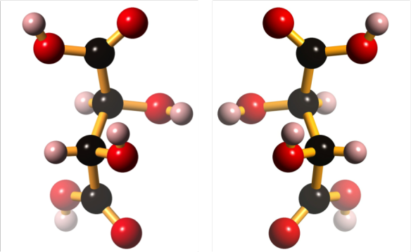 The structure of D-tartaric acid (left) and its mirror image, L-tartaric acid (right).