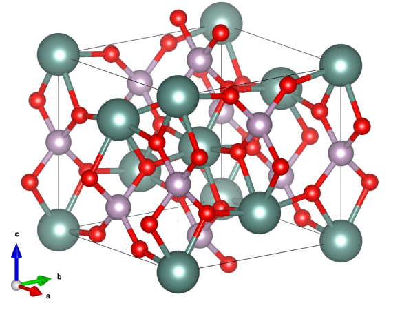 Yttrium orthophosphate, the main component of xenotime. Yttrium atoms are shown in green, phosphorus in purple, and oxygen in red. Image generated using the VESTA (Visualisation for Electronic and STructural Analysis) software http://jp-minerals.org/vesta/en/