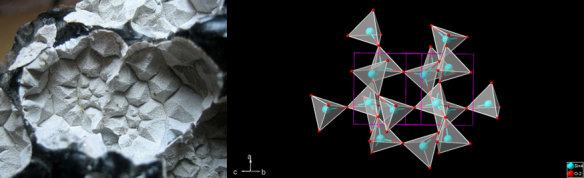 (Left) photo from R.Weller/Cochise College. a-cristobalite located in a large vesicle in obsidian. 3.5 miles from Mono Lake, California. (Right) Crystallographic representation generated with Diamond.