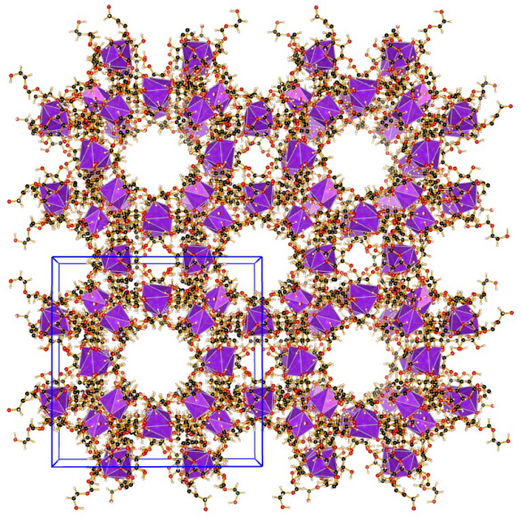 An edible cyclodextrin-based metal-organic framework (CD-MOF-1). The purple polyhedra represent the potassium ions which are surrounded by eight oxygen atoms. Image generated using the VESTA (Visualisation for Electronic and STructual Analysis) software http://jp-minerals.org/vesta/en/