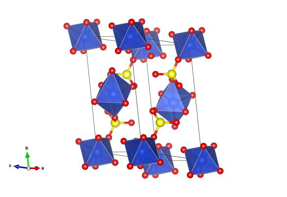 The crystal structure of copper sulfate pentahydrate, without the hydrogen positions as determined by Beevers. The blue atoms are copper, the red oxygen and the yellow are sulfur. Image generated by the VESTA (Visualisation for Electronic and STructual Analysis) software http://jp-minerals.org/vesta/en/