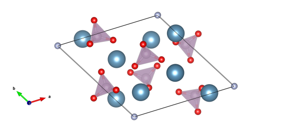 Red atoms are oxygen, light blue calcium, purple are phosphorus and the grey atoms are the fluorine positions. Image generated by the VESTA (Visualisation for Electronic and STructural analysis) software http://jp-minerals.org/vesta/en/