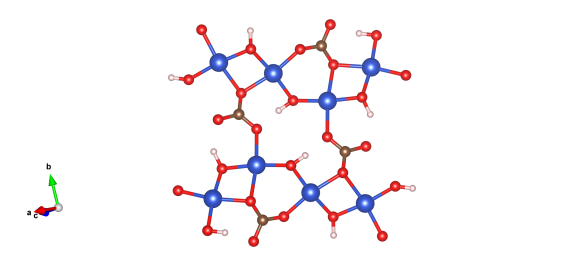 The crystal structure of malachite, blue are copper atoms, red oxygen, brown carbon and pink are hydrogen. Image generated by the VESTA (Visualisation for Electronic and STructural analysis) software http://jp-minerals.org/vesta/en/