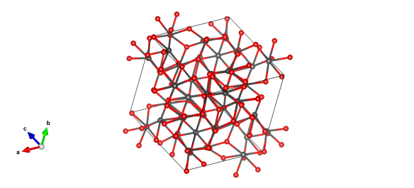 The structure of Einsteinium Sesquioxide - the red atoms are oxygen and the grey atoms represent Einsteinium.