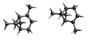 Pinene crystallises in an Orthorhombic P212121 space group. Graphics created using CrystalExplorer