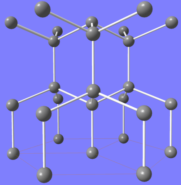 Crystal structure of lonsdaleite (hexagonal diamond) by Materialscientist