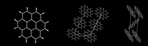 On the left is the coronene molecule, and the images to the right are two views of the 'mineral' structure carpathite. Image generated by the Mercury crystal structure visualisation software http://www.ccdc.cam.ac.uk/Solutions/CSDSystem/Pages/Mercury.aspx