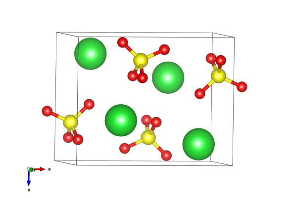 Red atoms are oxygen, yellow sulfur and green are the barium atoms. Image generated by the VESTA (Visualisation for Electronic and STructural analysis) software http://jp-minerals.org/vesta/en/