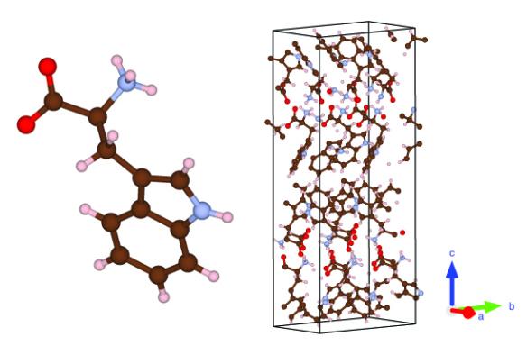 Crystal structure made with VESTA Red: Oxygen, Blue: Nitrogen, Brown: Carbon, White: Hydrogen