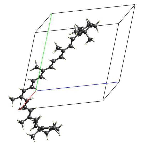 Image generated using Crystal Explorer 3.1 using data available from the Crystallography Open Database (# 2016501). Crystals are of a monoclinic P21/c structure with two molecules in the unit cell.