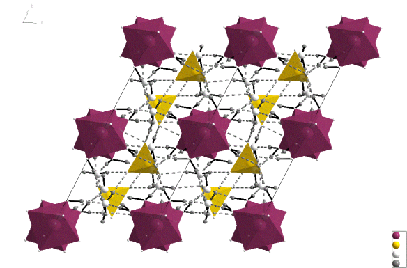 The structure of Meridianiite at 250 K. This image was created using the diamond visualisation software. Mg is pinky-red, S is yellow, O is white and hydrogen (technically deuterium), is grey.
