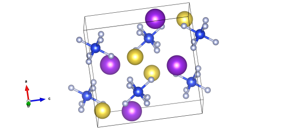 The crystal structure of Heklaite - the dark blue atoms are silicon, and the light blue and the fluorine bonded to them. Then there are also potassium (purple atoms) and sodium (yellow atoms) in this crystal structure. Image generated by the VESTA (Visualisation for Electronic and STructural analysis) software http://jp-minerals.org/vesta/en/