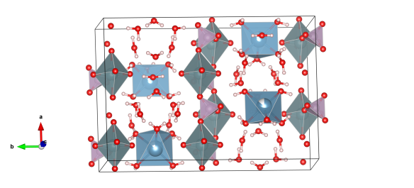 The grey atoms are uranium, the lilac are phosphorous atoms, the light blue are calcium atoms and the red are oxygen. Image generated by the VESTA (Visualisation for Electronic and STructual analysis) software http://jp-minerals.org/vesta/en/
