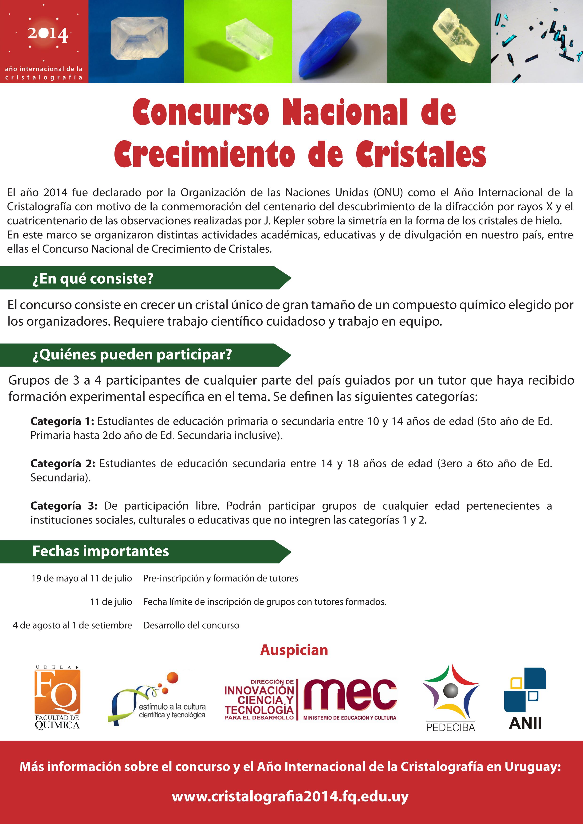 Poster Concurso Crecimiento de Cristales Uruguay