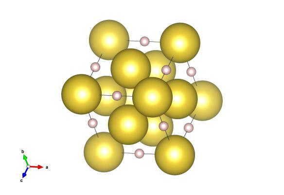 The structure of sodium hydride showing the relative scattering of the sodium (yellow) and hydrogen (pink) atoms.