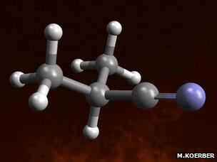 Image of the iso-propyl cyanide molecule recently detected 27,000 light years away.