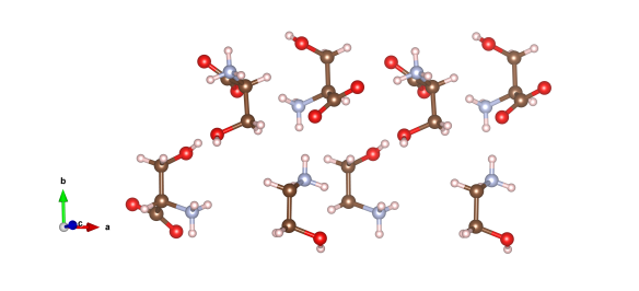 Here the red atoms are oxygen, the pink hydrogen, light blue nitrogen and the brown atoms are the carbon atoms. Image generated by the VESTA (Visualisation for Electronic and STructual analysis) software http://jp-minerals.org/vesta/en/