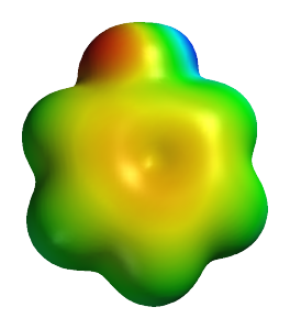 """Neutral phenol substructure """"shape"""". An image of a computed electrostatic surface of neutral phenol, showing neutral regions in green, electronegative areas in orange-red, and the electropositive phenolic proton in blue."""
