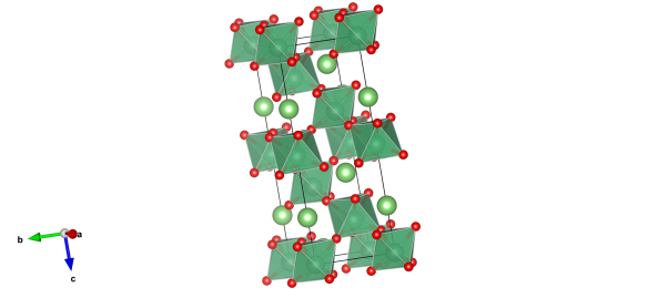 The crystal structure of lithium niobate, the light green atoms are lithium, dark green niobium which bond with the red oxygen atoms. Image generated by the VESTA (Visualisation for Electronic and STructual Analysis) software http://jp-minerals.org/vesta/en/