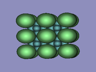 Four unit cells of LaB6, with atoms drawn according to their atomic radius. Created with DRAWxtl and Povray