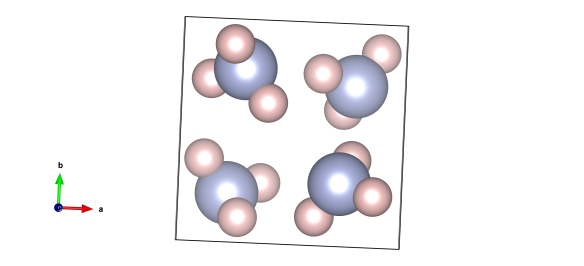 The crystal structure of frozen ammonia. The light blue atoms are nitrogen and the pink ones are hydrogen. Image generated by the VESTA (Visualisation for Electronic and STructual Analysis) software http://jp-minerals.org/vesta/en/