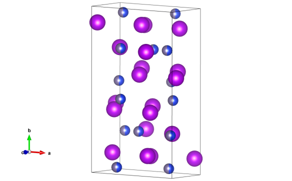 In the diagram above, the purple atoms are the gadolinium and the grey/ blue atoms are mixed sites: germanium and silicon are randomly mixed 50/50. Image generated by the VESTA (Visualisation for Electronic and STructual analysis) software http://jp-minerals.org/vesta/en/