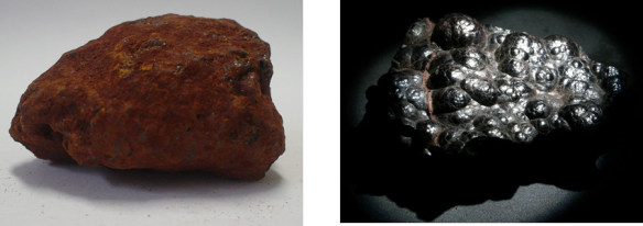 The two commonly recognised morphologies and colours of hematite. Credit: Wikipedia.